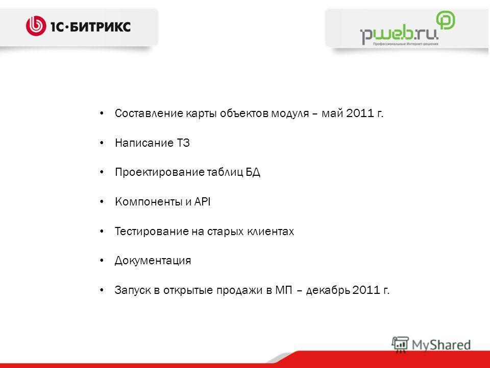Составление карты объектов модуля – май 2011 г. Написание ТЗ Проектирование таблиц БД Компоненты и API Тестирование на старых клиентах Документация Запуск в открытые продажи в МП – декабрь 2011 г.