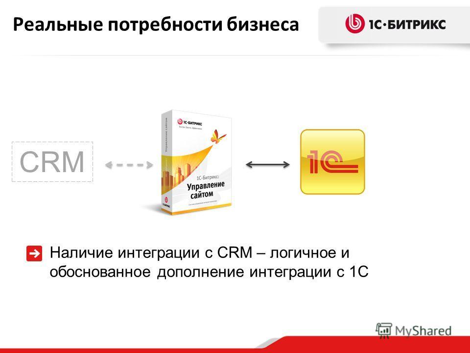 Реальные потребности бизнеса Наличие интеграции с CRM – логичное и обоснованное дополнение интеграции с 1С CRM
