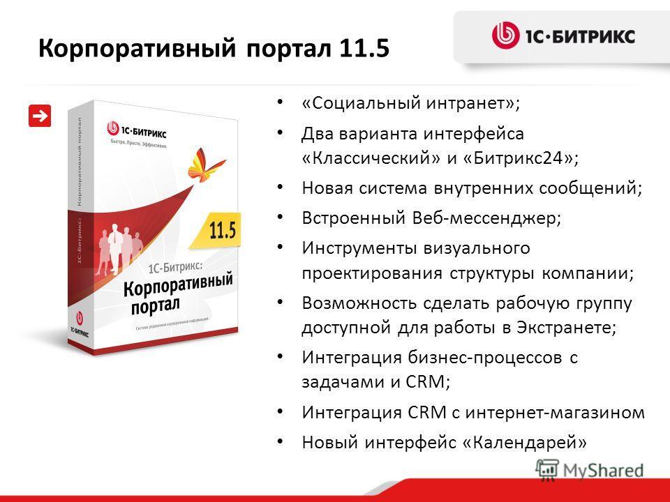 Корпоративный портал 11.5 «Социальный интранет»; Два варианта интерфейса «Классический» и «Битрикс24»; Новая система внутренних сообщений; Встроенный Веб-мессенджер; Инструменты визуального проектирования структуры компании; Возможность сделать рабоч