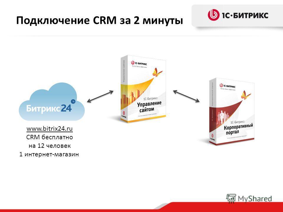 Подключение CRM за 2 минуты www.bitrix24.ru CRM бесплатно на 12 человек 1 интернет-магазин