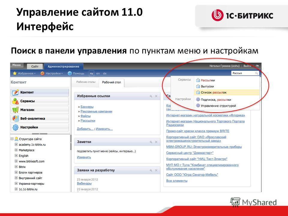 Поиск в панели управления по пунктам меню и настройкам Управление сайтом 11.0 Интерфейс