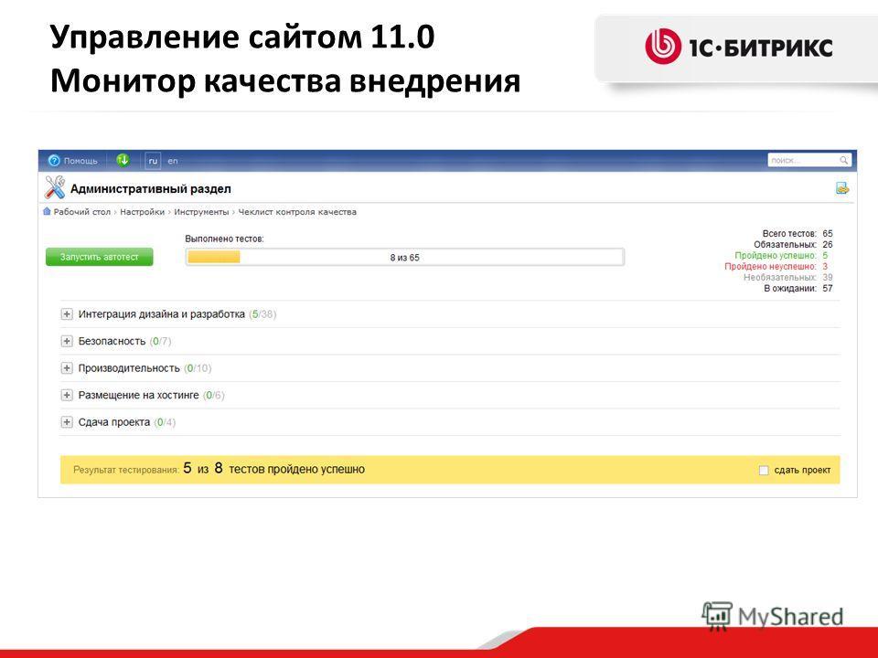 Управление сайтом 11.0 Монитор качества внедрения