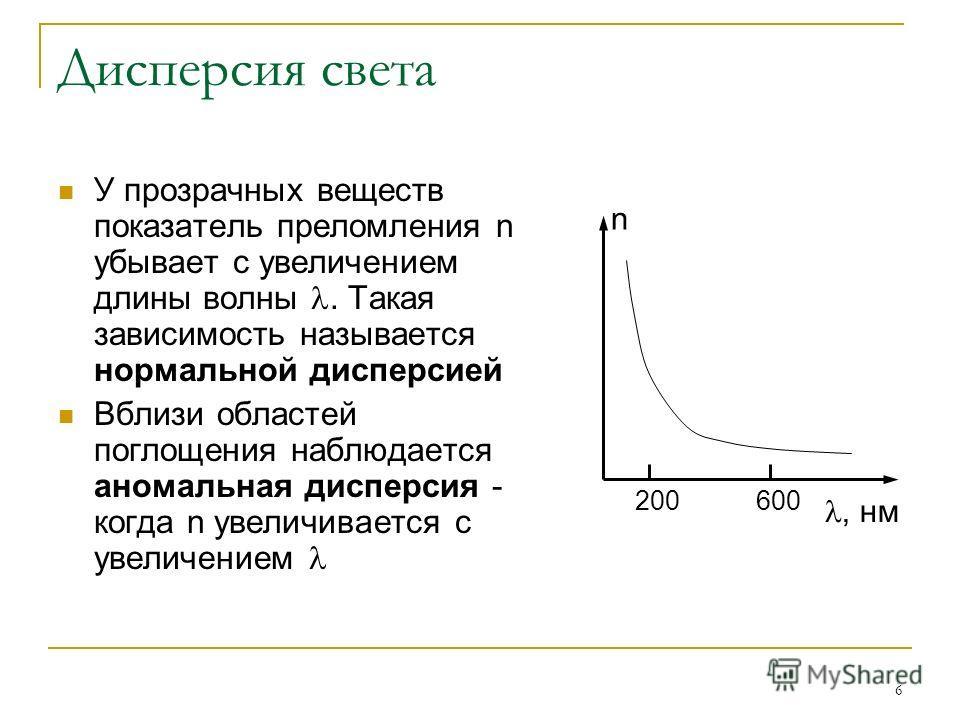 6 Дисперсия света У прозрачных веществ показатель преломления n убывает с увеличением длины волны. Такая зависимость называется нормальной дисперсией Вблизи областей поглощения наблюдается аномальная дисперсия - когда n увеличивается с увеличением n,