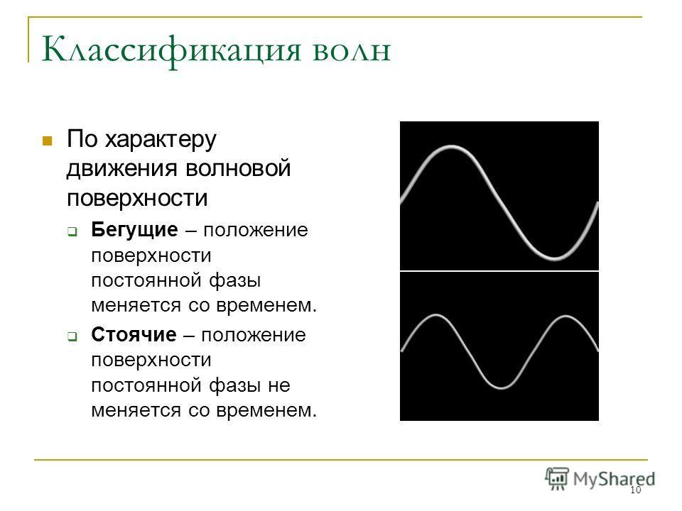 10 Классификация волн По характеру движения волновой поверхности Бегущие – положение поверхности постоянной фазы меняется со временем. Стоячие – положение поверхности постоянной фазы не меняется со временем.