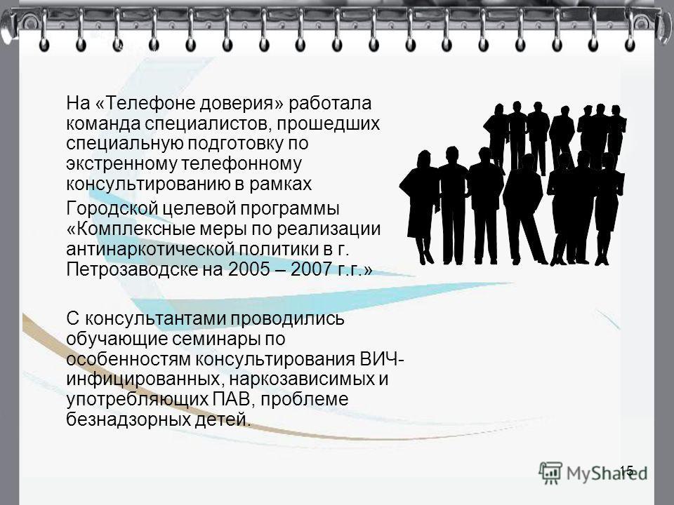 15 На «Телефоне доверия» работала команда специалистов, прошедших специальную подготовку по экстренному телефонному консультированию в рамках Городской целевой программы «Комплексные меры по реализации антинаркотической политики в г. Петрозаводске на