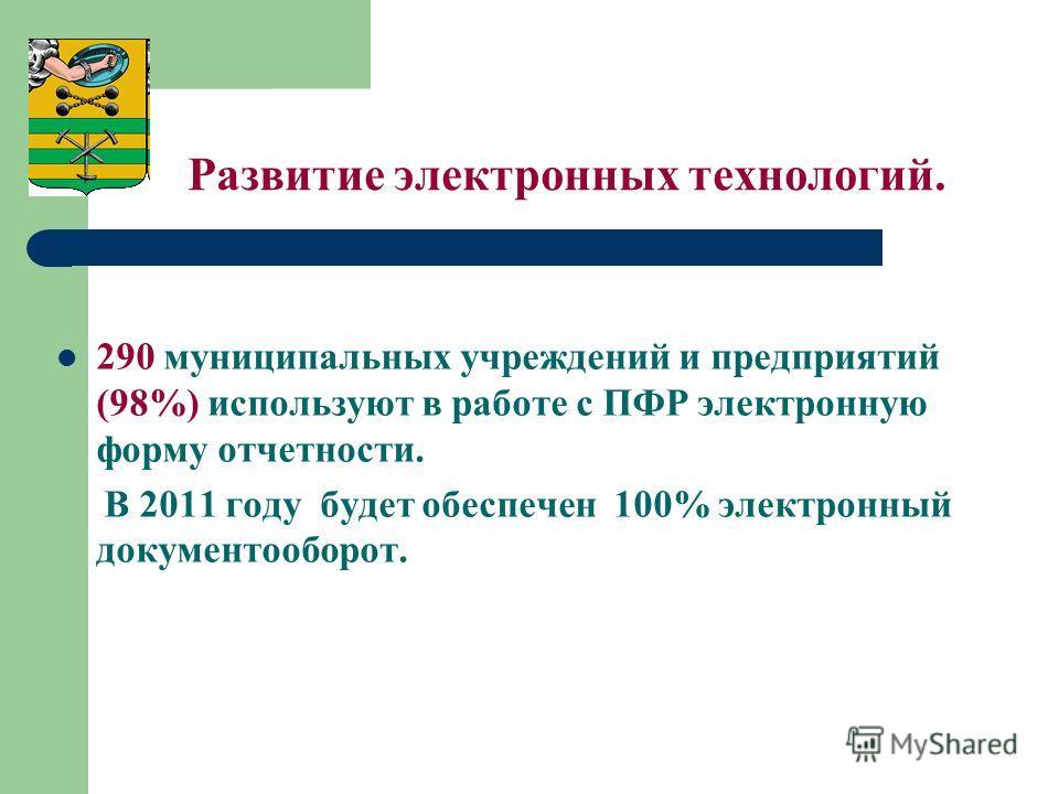 Развитие электронных технологий. 290 муниципальных учреждений и предприятий (98%) используют в работе с ПФР электронную форму отчетности. В 2011 году будет обеспечен 100% электронный документооборот.