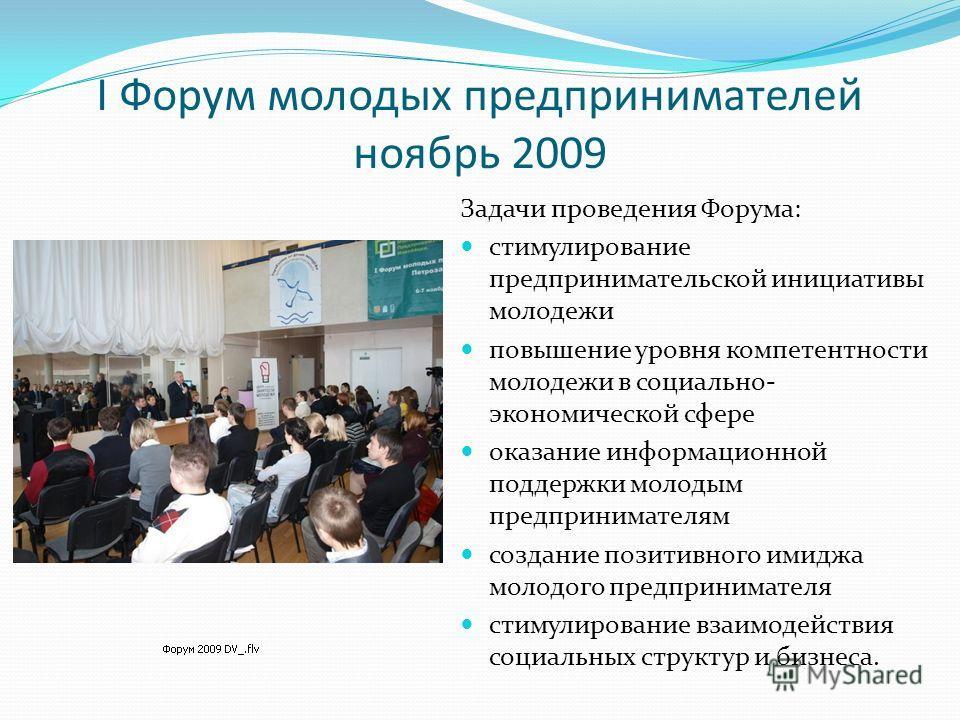I Форум молодых предпринимателей ноябрь 2009 Задачи проведения Форума: стимулирование предпринимательской инициативы молодежи повышение уровня компетентности молодежи в социально- экономической сфере оказание информационной поддержки молодым предприн