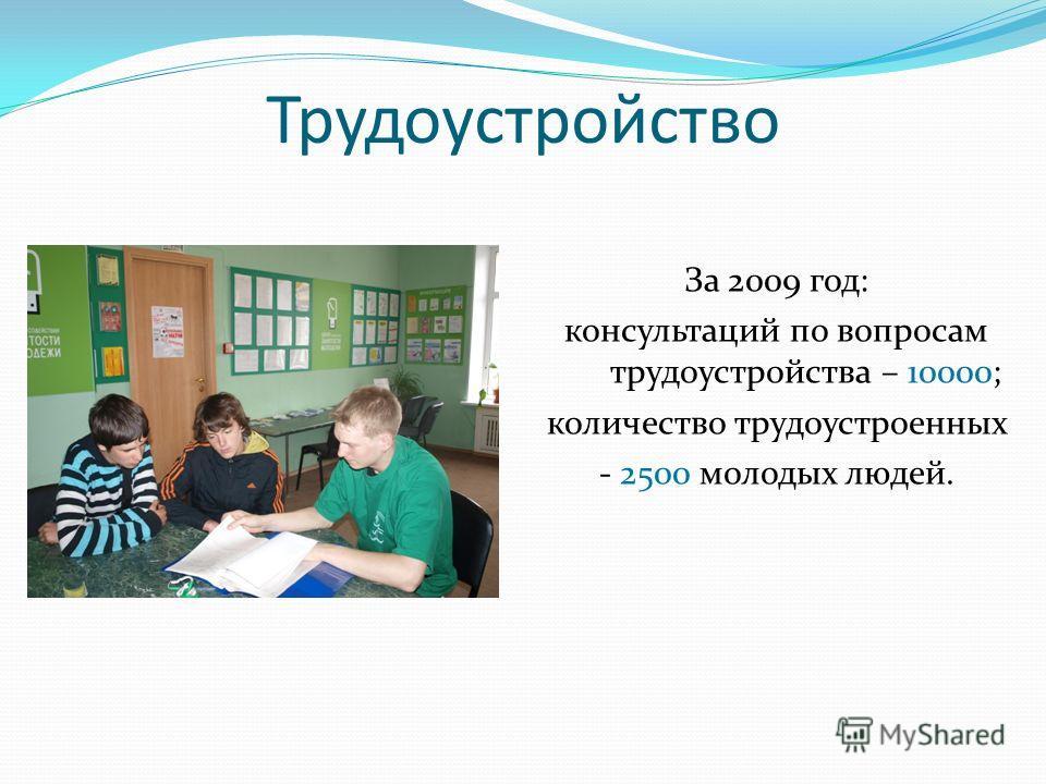 Трудоустройство За 2009 год: консультаций по вопросам трудоустройства – 10000; количество трудоустроенных - 2500 молодых людей.