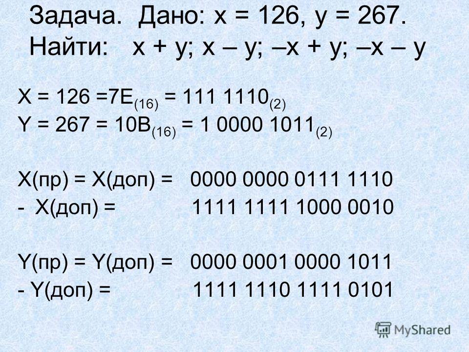 Задача. Дано: x = 126, y = 267. Найти: x + y; x – y; –x + y; –x – y X = 126 =7E (16) = 111 1110 (2) Y = 267 = 10B (16) = 1 0000 1011 (2) X(пр) = Х(доп) = 0000 0000 0111 1110 -Х(доп) = 1111 1111 1000 0010 Y(пр) = Y(доп) = 0000 0001 0000 1011 - Y(доп)