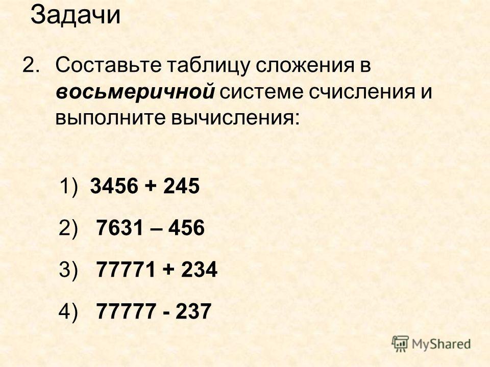 Задачи 2.Составьте таблицу сложения в восьмеричной системе счисления и выполните вычисления: 1) 3456 + 245 2) 7631 – 456 3) 77771 + 234 4) 77777 - 237