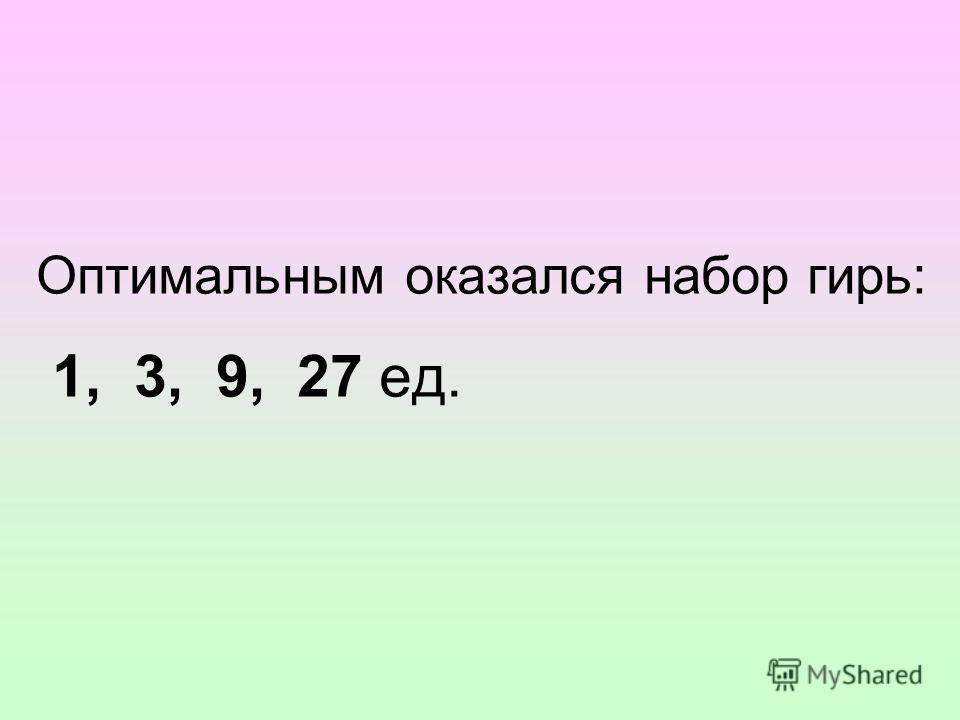 Оптимальным оказался набор гирь: 1, 3, 9, 27 ед.