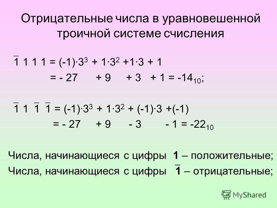 Отрицательные числа в уравновешенной троичной системе счисления 1 1 1 1 = (-1)·3 3 + 1·3 2 +1·3 + 1 = - 27 + 9 + 3 + 1 = -14 10 ; 1 1 1 1 = (-1)·3 3 + 1·3 2 + (-1)·3 +(-1) = - 27 + 9 - 3 - 1 = -22 10 Числа, начинающиеся с цифры 1 – положительные; Чис
