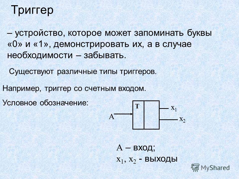 Триггер – устройство, которое может запоминать буквы «0» и «1», демонстрировать их, а в случае необходимости – забывать. Существуют различные типы триггеров. Например, триггер со счетным входом. Условное обозначение: Т А х1х1 х2х2 А – вход; х 1, х 2