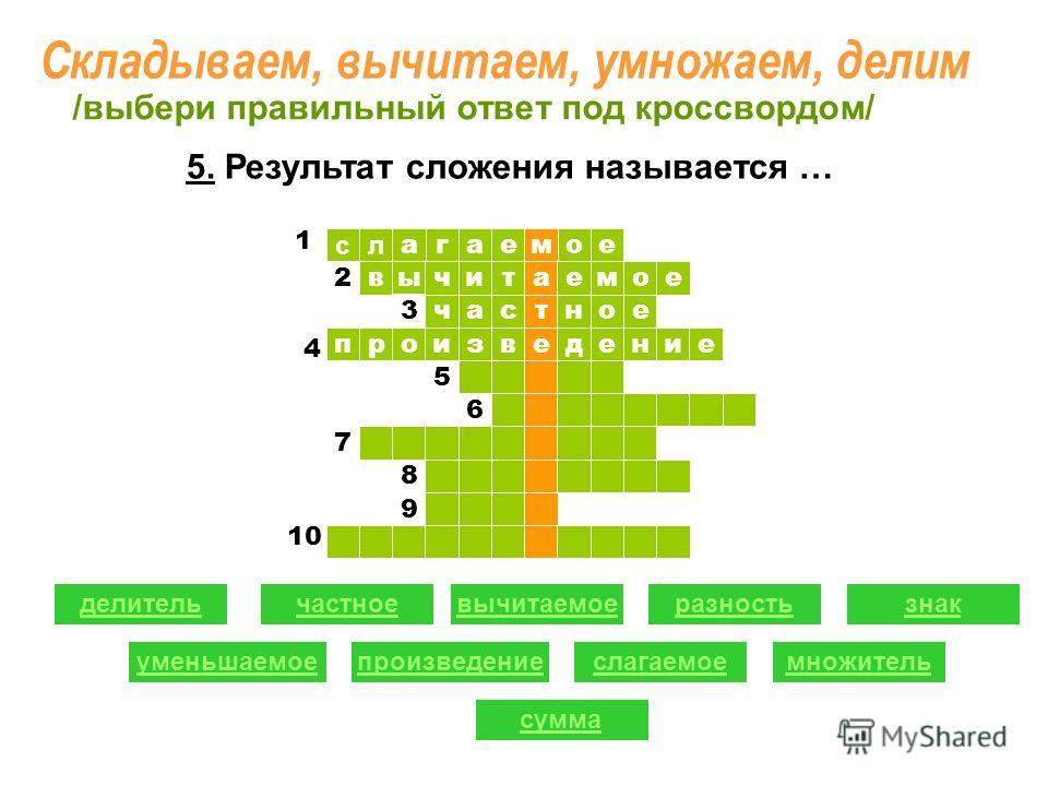 ое ыв сл агае т читаемое час м ное произведение 1 1 2 2 3 5 6 7 8 9 делительчастноевычитаемоеразность уменьшаемоепроизведениеслагаемое знак множитель сумма /выбери правильный ответ под кроссвордом/ 4 10 1 5. Результат сложения называется … Складываем