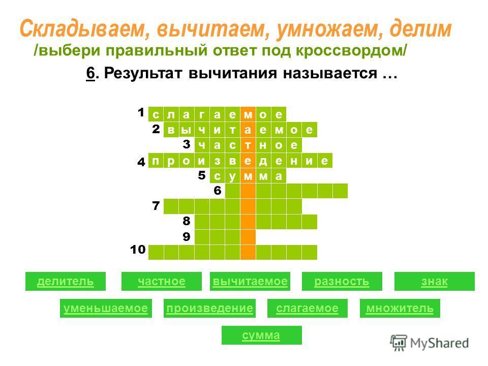 ое ыв слагае т читаемое час м ное произведение сумма 1 1 2 2 3 5 6 7 8 9 делительчастноевычитаемоеразность уменьшаемоепроизведениеслагаемое знак множитель сумма /выбери правильный ответ под кроссвордом/ 4 10 1 6. Результат вычитания называется … Скла
