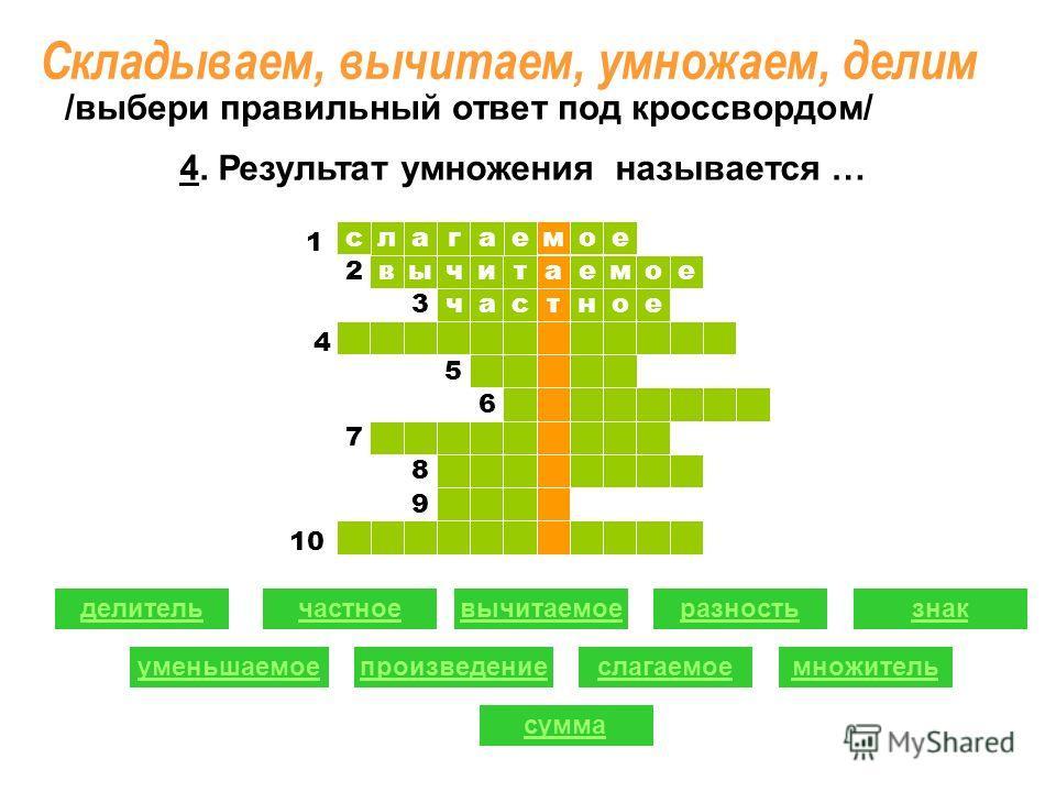 ое ыв слагае т читаемое час м ное 1 1 2 2 3 5 6 7 8 9 делительчастноевычитаемоеразность уменьшаемоепроизведениеслагаемое знак множитель сумма /выбери правильный ответ под кроссвордом/ 4 1 10 4. Результат умножения называется … Складываем, вычитаем, у