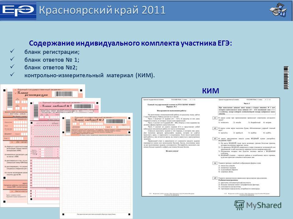 Содержание индивидуального комплекта участника ЕГЭ: бланк регистрации; бланк ответов 1; бланк ответов 2; контрольно-измерительный материал (КИМ). КИМ