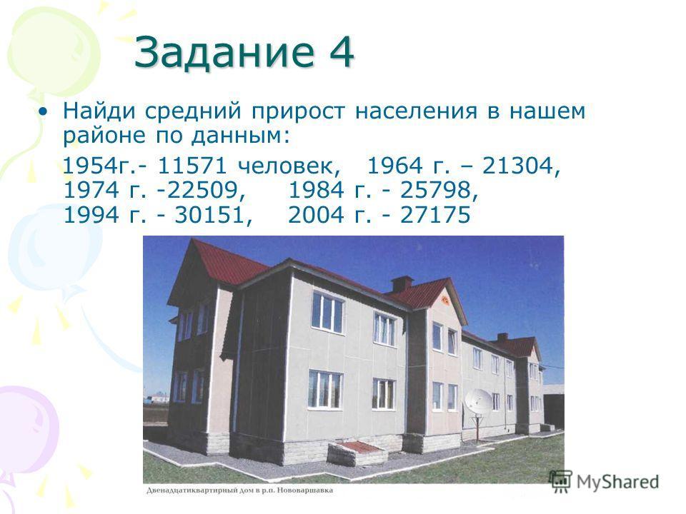 Задание 4 Найди средний прирост населения в нашем районе по данным: 1954г.- 11571 человек, 1964 г. – 21304, 1974 г. -22509, 1984 г. - 25798, 1994 г. - 30151, 2004 г. - 27175