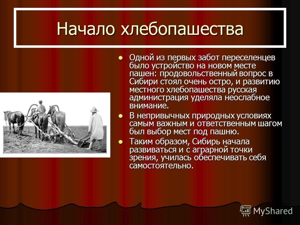 Начало хлебопашества Одной из первых забот переселенцев было устройство на новом месте пашен: продовольственный вопрос в Сибири стоял очень остро, и развитию местного хлебопашества русская администрация уделяла неослабное внимание. Одной из первых за