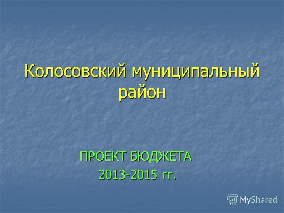 Колосовский муниципальный район ПРОЕКТ БЮДЖЕТА 2013-2015 гг. 2013-2015 гг.