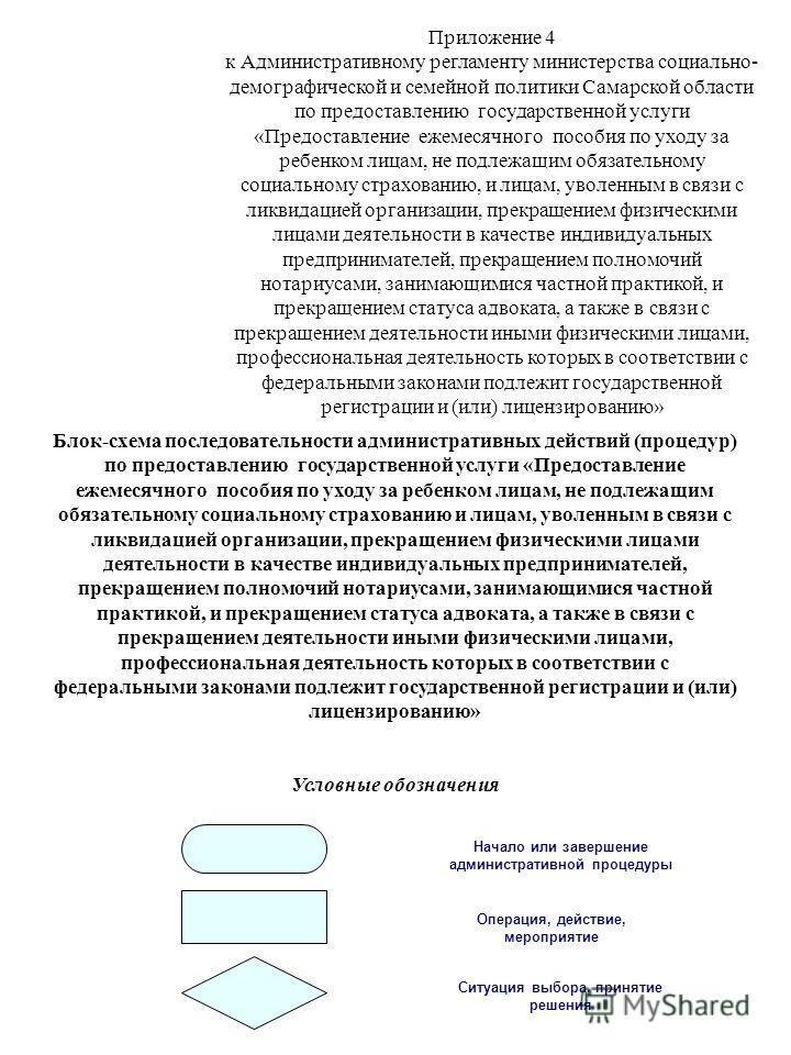 Приложение 4 к Административному регламенту министерства социально- демографической и семейной политики Самарской области по предоставлению государственной услуги «Предоставление ежемесячного пособия по уходу за ребенком лицам, не подлежащим обязател