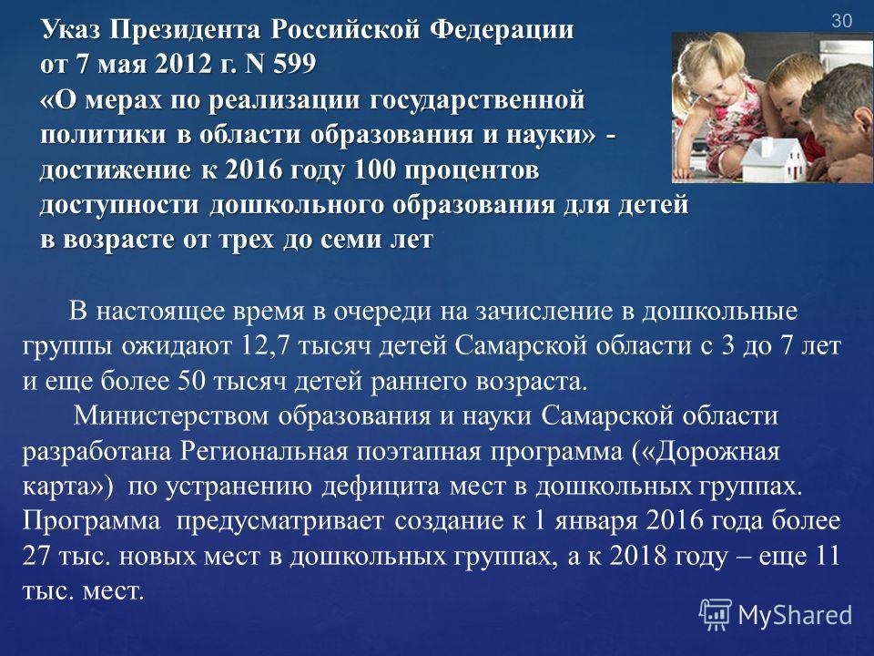 Указ Президента Российской Федерации от 7 мая 2012 г. N 599 «О мерах по реализации государственной политики в области образования и науки» - достижение к 2016 году 100 процентов доступности дошкольного образования для детей в возрасте от трех до семи