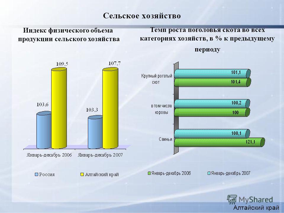 Сельское хозяйство Алтайский край Индекс физического объема продукции сельского хозяйства Темп роста поголовья скота во всех категориях хозяйств, в % к предыдущему периоду