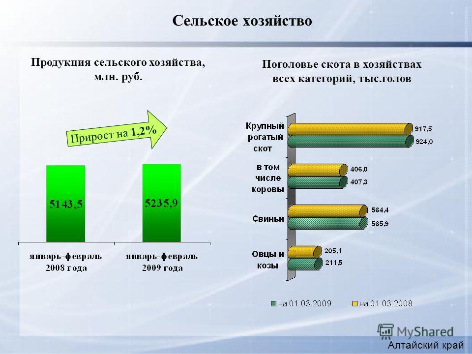 Сельское хозяйство Алтайский край Поголовье скота в хозяйствах всех категорий, тыс.голов Продукция сельского хозяйства, млн. руб. Прирост на 1,2%