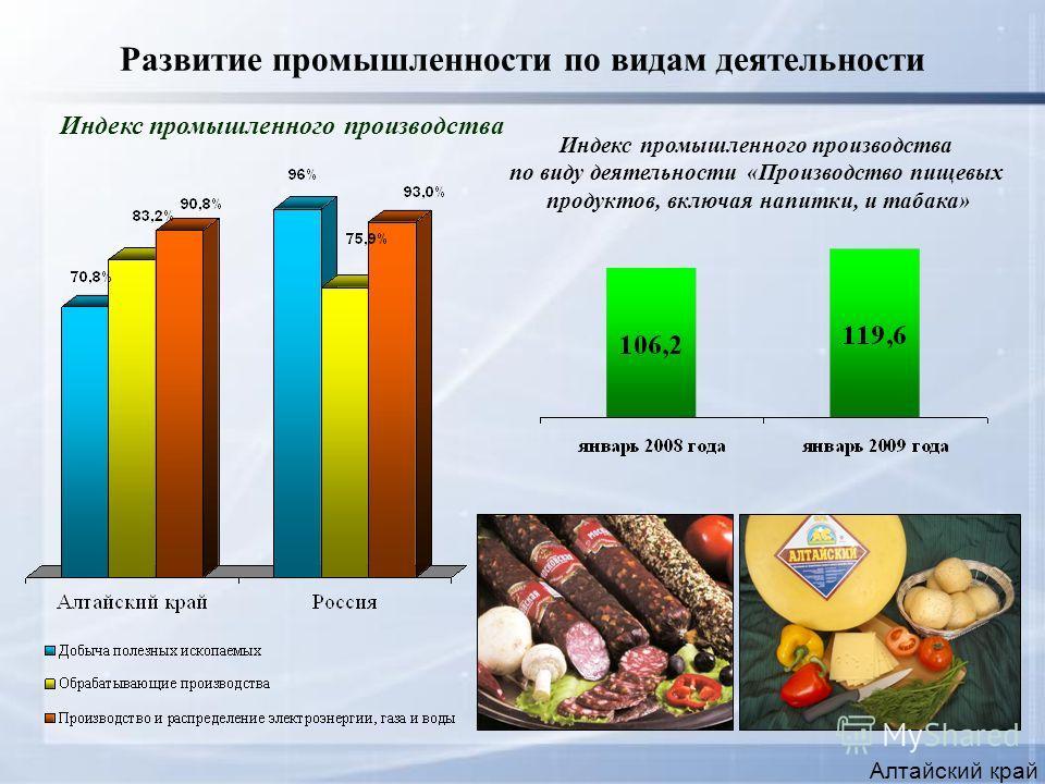 Развитие промышленности по видам деятельности Алтайский край Индекс промышленного производства по виду деятельности «Производство пищевых продуктов, включая напитки, и табака»