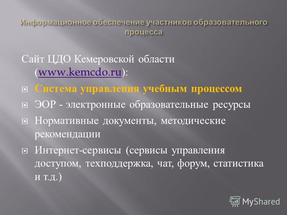 Сайт ЦДО Кемеровской области (www.kemcdo.ru):www.kemcdo.ru Система управления учебным процессом ЭОР - электронные образовательные ресурсы Нормативные документы, методические рекомендации Интернет - сервисы ( сервисы управления доступом, техподдержка,