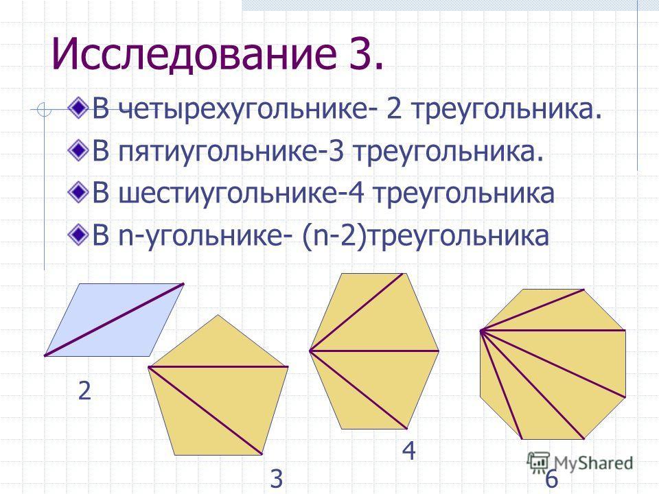 Исследование 3. В четырехугольнике- 2 треугольника. В пятиугольнике-3 треугольника. В шестиугольнике-4 треугольника В n-угольнике- (n-2)треугольника 2 3 4 6