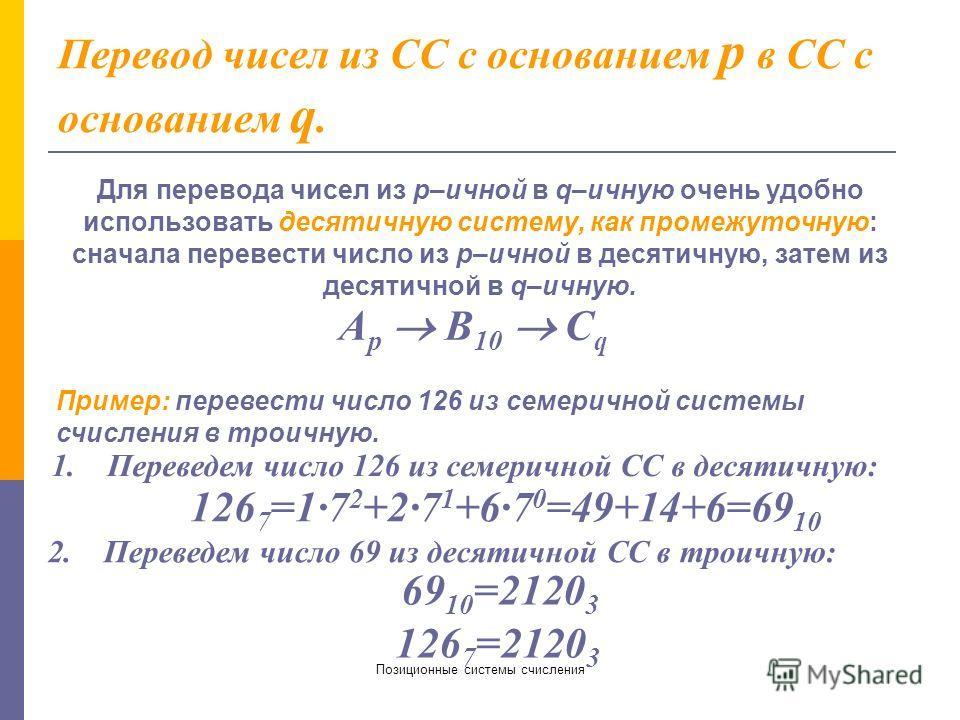 Позиционные системы счисления Перевод дробных и смешанных чисел. а). из 2-ной в 10-ную СС: 1001,01 2 = 1·2 0 +0·2 1 +0·2 2 +1·2 3 +0·2 -1 +1·2 -2 =1 + 8 + 1/4 = 9,25 10 б). из 10-ной в 2-ную СС: Перевод чисел, содержащих целую и дробную часть, осущес