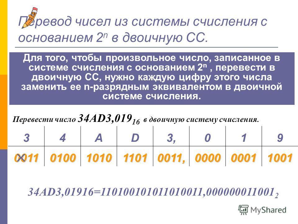 Перевод произвольных двоичных чисел в систему счисления с основанием 2 n. 1. Целую часть данного двоичного числа разбить справа налево, а дробную - слева направо на группы по n в каждой. 2. Если в левой последней и/или правой группе окажется меньше n