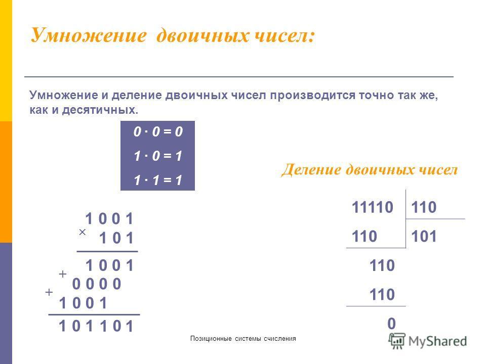 Позиционные системы счисления Сложение и вычитание двоичных чисел. Сложение и вычитание двоичных чисел производится также как в десятичной системе счисления. 0 + 0 = 0 1 + 0 = 1 0 + 1 = 1 1 + 1 = 10 (единица переносится в следующий разряд) 0 - 0 = 0