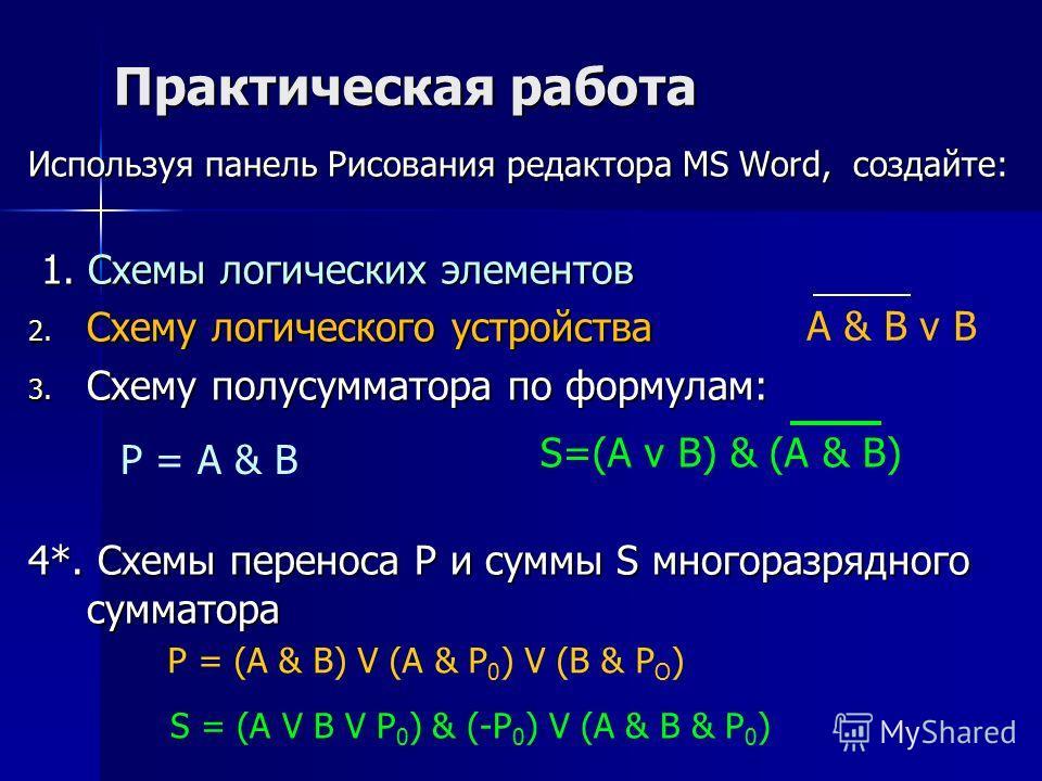 Практическая работа Используя панель Рисования редактора MS Word, создайте: 1. Схемы логических элементов 1. Схемы логических элементов 2. Схему логического устройства 3. Схему полусумматора по формулам: 4*. Схемы переноса Р и суммы S многоразрядного
