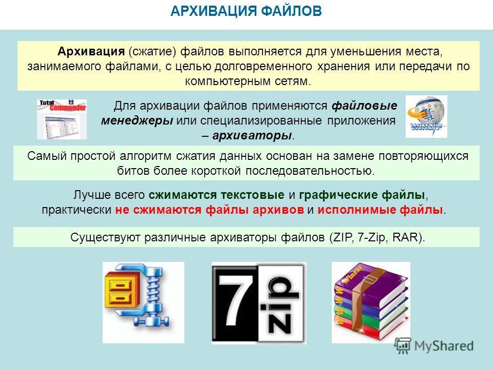 АРХИВАЦИЯ ФАЙЛОВ Архивация (сжатие) файлов выполняется для уменьшения места, занимаемого файлами, с целью долговременного хранения или передачи по компьютерным сетям. Для архивации файлов применяются файловые менеджеры или специализированные приложен