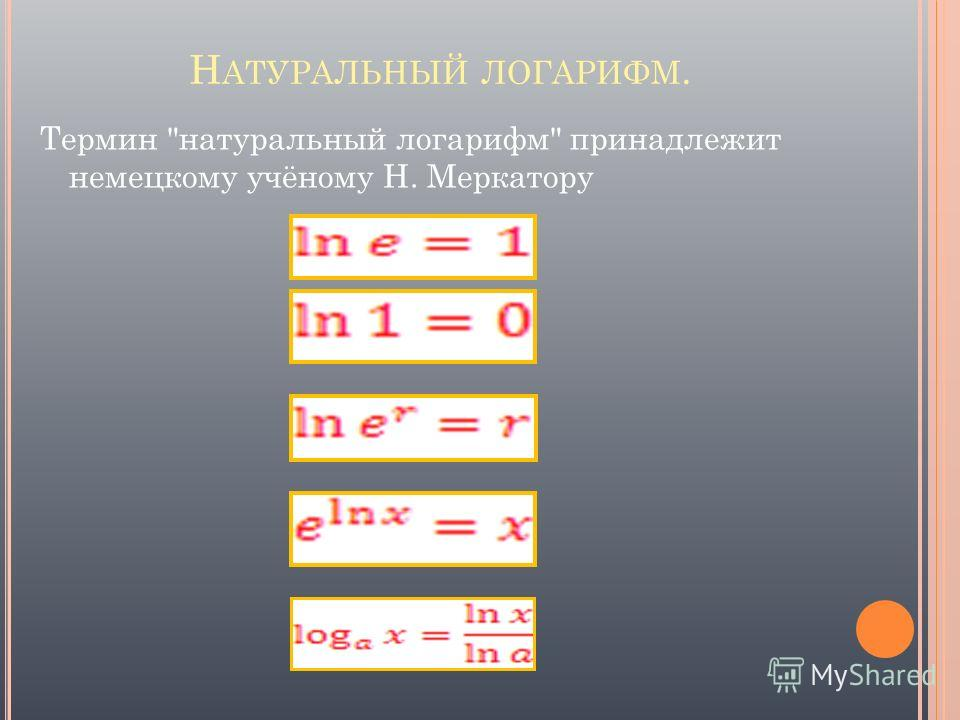 Н АТУРАЛЬНЫЙ ЛОГАРИФМ. Термин натуральный логарифм принадлежит немецкому учёному Н. Меркатору