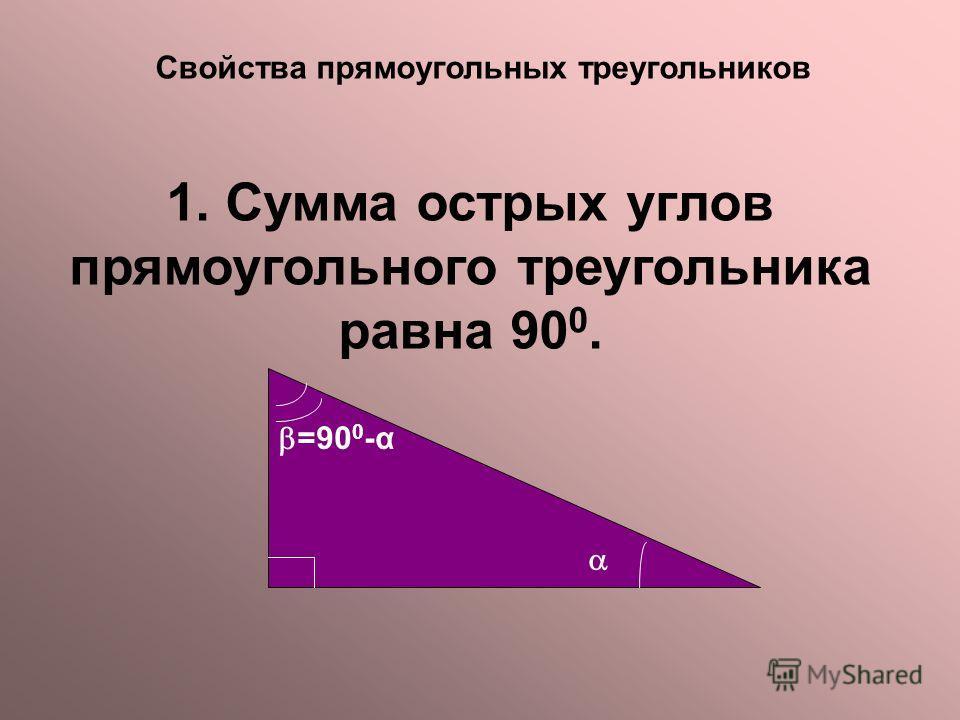 Свойства прямоугольных треугольников 1. Сумма острых углов прямоугольного треугольника равна 90 0. =90 0 -α