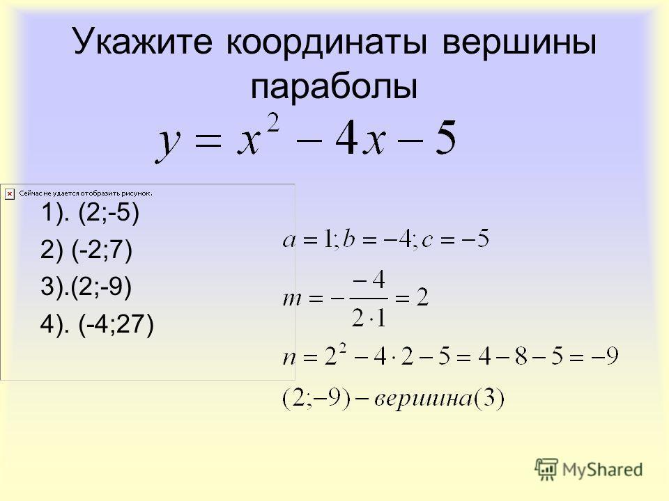 Укажите координаты вершины параболы 1). (2;-5) 2) (-2;7) 3).(2;-9) 4). (-4;27)