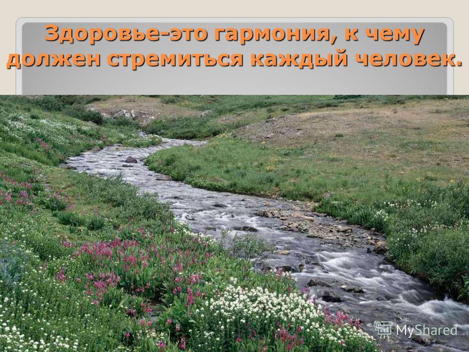 Здоровье-это гармония, к чему должен стремиться каждый человек.