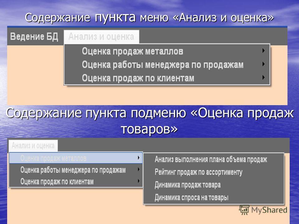 Содержание пункта меню «Анализ и оценка» Содержание пункта подменю «Оценка продаж товаров»