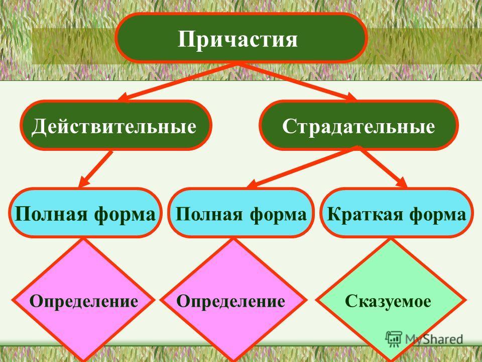 Причастия ДействительныеСтрадательные Полная форма Краткая форма Определение Сказуемое