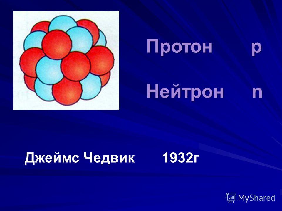 Протон p Нейтрон n Джеймс Чедвик 1932г