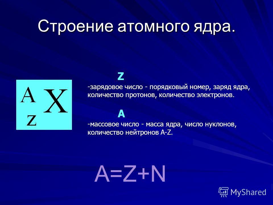 Строение атомного ядра. Z -зарядовое число - порядковый номер, заряд ядра, количество протонов, количество электронов. А -массовое число - масса ядра, число нуклонов, количество нейтронов А-Z. A=Z+N