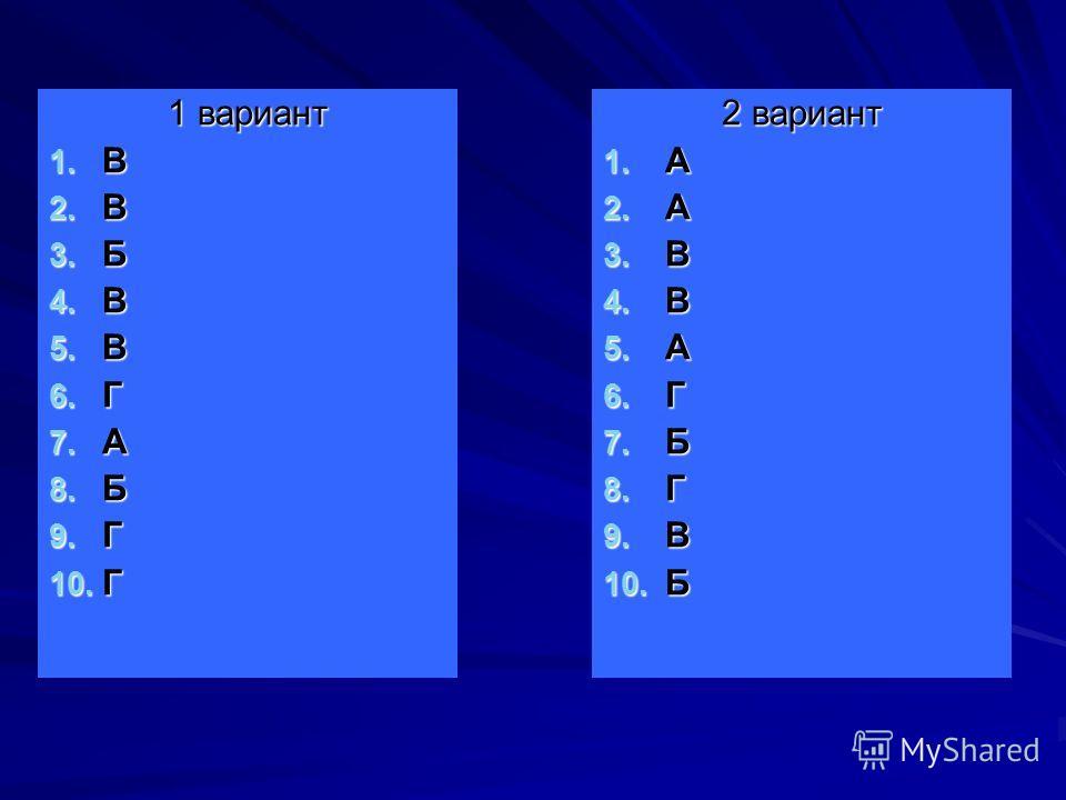 1 вариант 1. В 2. В 3. Б 4. В 5. В 6. Г 7. А 8. Б 9. Г 10. Г 2 вариант 1. А 2. А 3. В 4. В 5. А 6. Г 7. Б 8. Г 9. В 10. Б