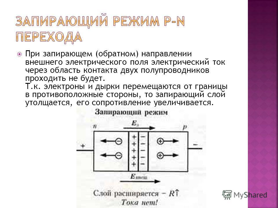 При запирающем (обратном) направлении внешнего электрического поля электрический ток через область контакта двух полупроводников проходить не будет. Т.к. электроны и дырки перемещаются от границы в противоположные стороны, то запирающий слой утолщает