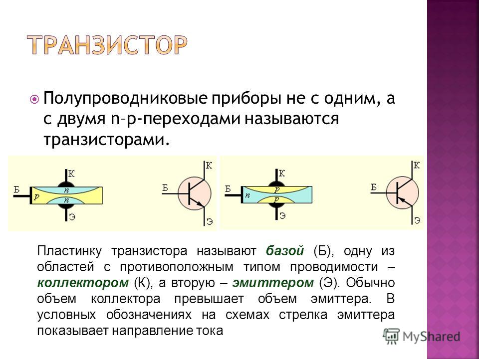 Полупроводниковые приборы не с одним, а с двумя n–p-переходами называются транзисторами. Пластинку транзистора называют базой (Б), одну из областей с противоположным типом проводимости – коллектором (К), а вторую – эмиттером (Э). Обычно объем коллект