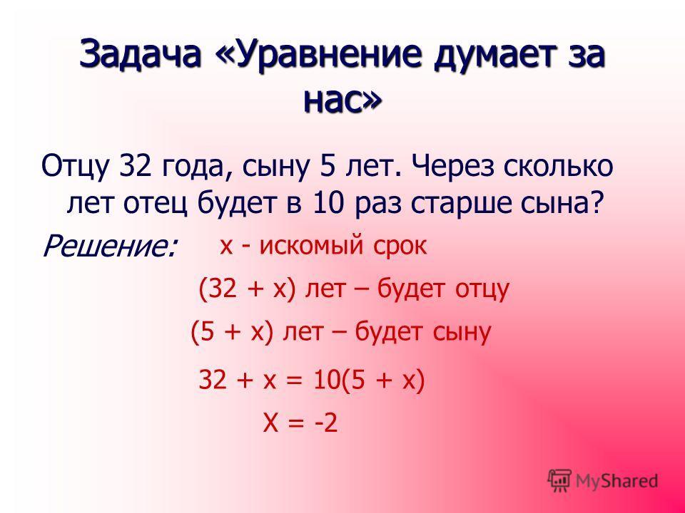 Задача «Уравнение думает за нас» Отцу 32 года, сыну 5 лет. Через сколько лет отец будет в 10 раз старше сына? Решение: х - искомый срок (32 + х) лет – будет отцу (5 + х) лет – будет сыну 32 + х = 10(5 + х) Х = -2