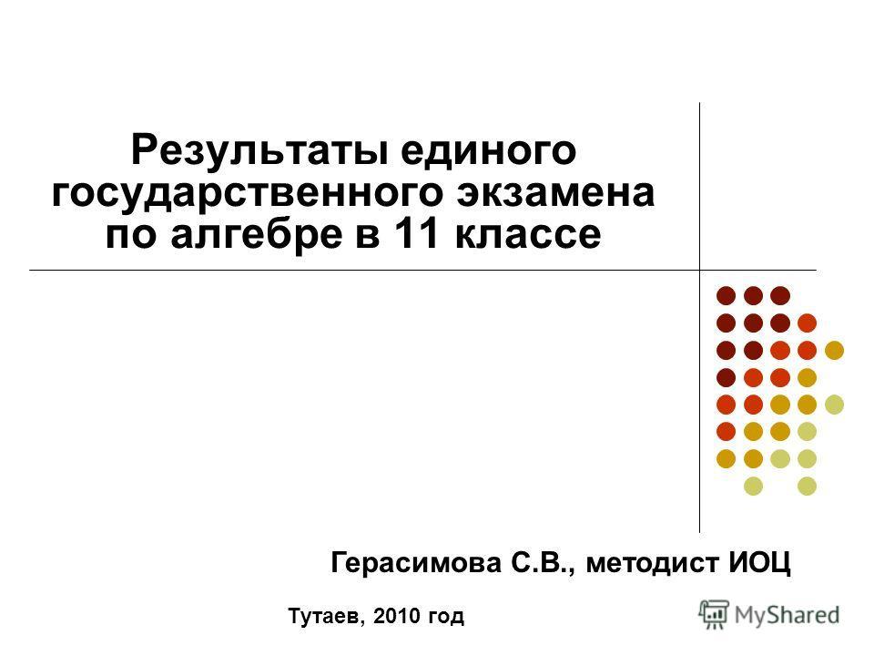 Результаты единого государственного экзамена по алгебре в 11 классе Тутаев, 2010 год Герасимова С.В., методист ИОЦ