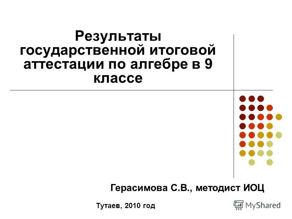 Результаты государственной итоговой аттестации по алгебре в 9 классе Тутаев, 2010 год Герасимова С.В., методист ИОЦ